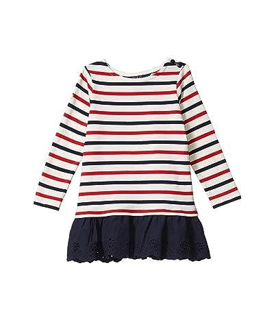 Polo Ralph Lauren Kids Striped Cotton Jersey Dress (Toddler) (Clubhouse Cream) Girl