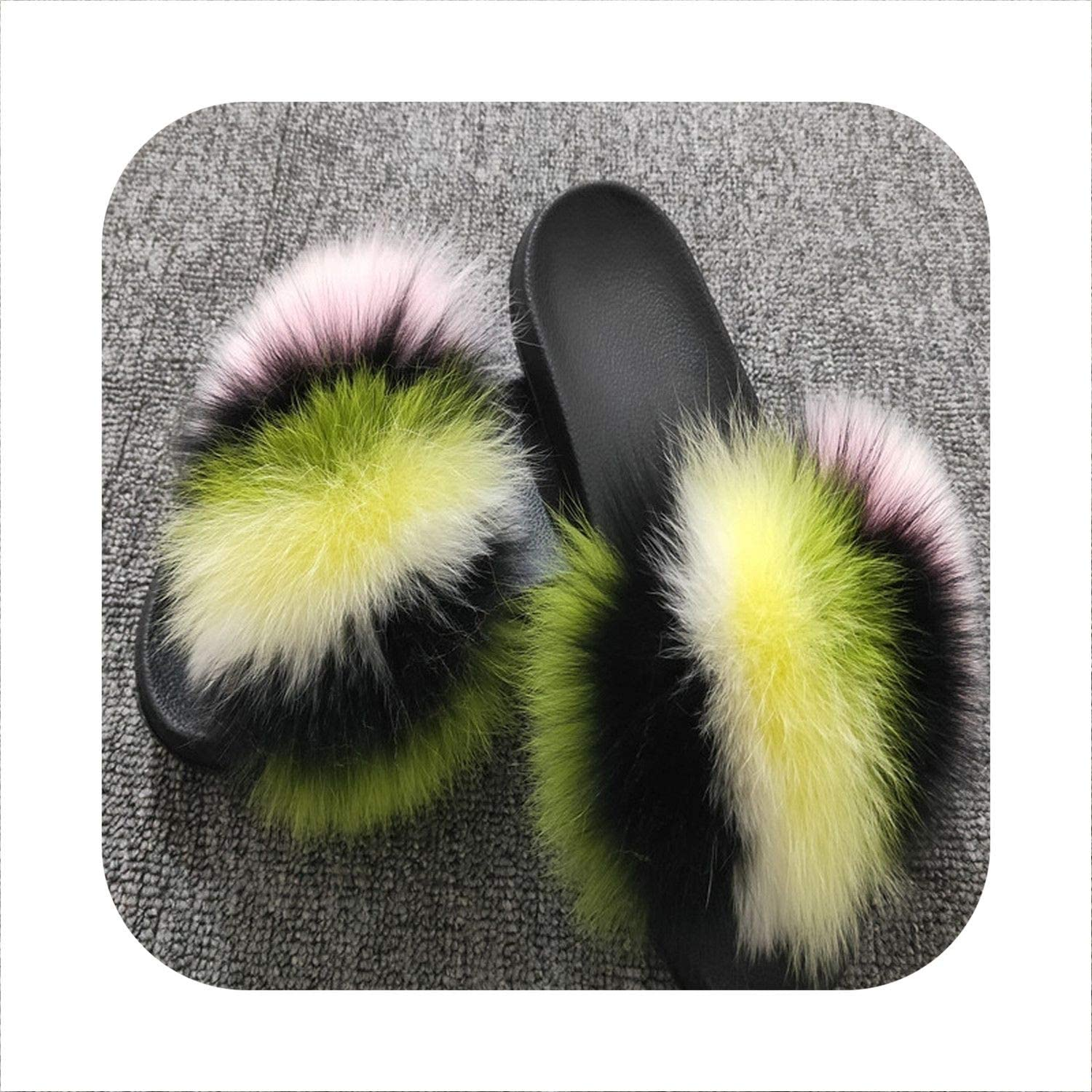 Sunjinjing 31 colors Women's Summer Fox Fur Slipper Flat Beach Sandals Hot Female shoes Plush Furry Slides Outdoor shoes Lady shoes