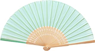 Yeeco 扇子 レディース シルク 絹 箱付き 和風扇子 布製工芸品 絵画 ファン 無地 DIY 折りたたみ式 お祭り 猛暑対策 お祝い 青