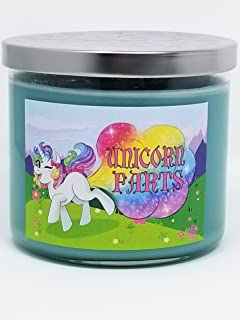 S&M Candle Factory Unicorn Farts 3 Wick Scented 100% Premium Soy Wax 14.5 oz Candle ~ 80 Hour Burn Time ~ (Unicorn Farts Blue Hawaiian)