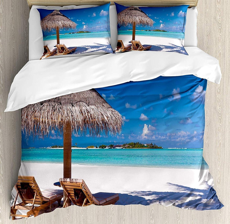 Landscape Duvet Cover Set Twin Size, Island Caribbean Honeymoon Themed Beach Seashore Ocean Print,Lightweight Microfiber Duvet Cover Sets, White Pale Brown Turquoise
