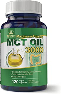 Maximum Potency 100% Pure MCT Oil Capsules 3000 mg I for Improved Energy and Brain Function I 120 Cold Pressed Softgels