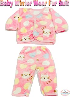 The Little Lookers™ Premium Quality Soft Feel Top Pyjama Set| Winter Wear| Fur Suit for New Born Babies/Infants/Toddlers (0-3 Months) Print May Vary (Pink)
