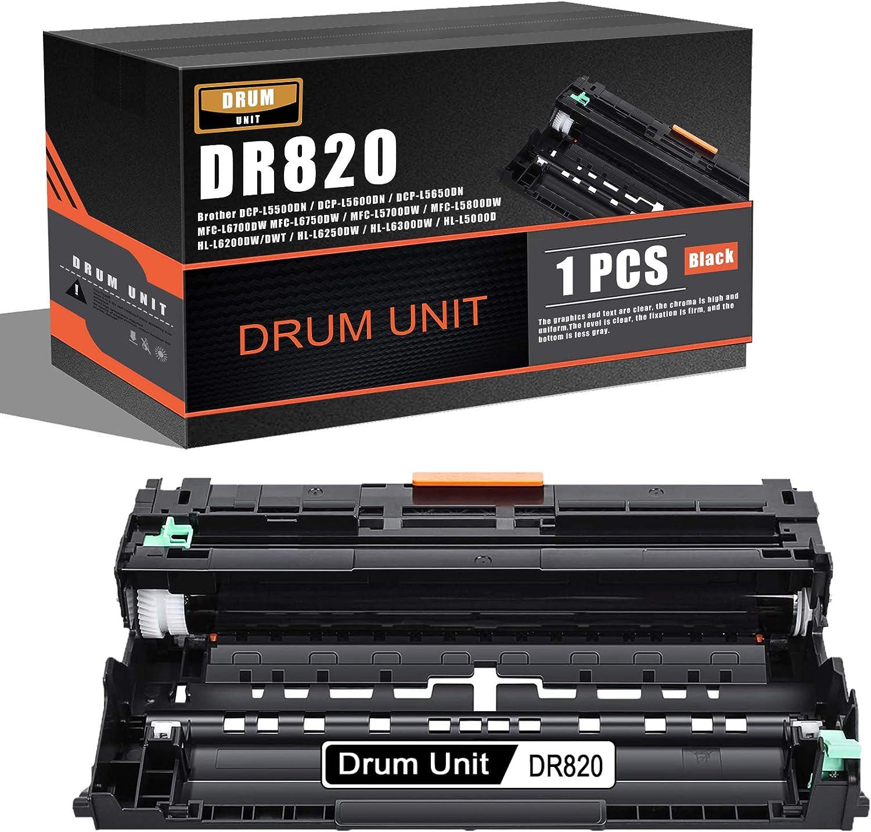 1-Pack Black Compatible DR820 DR-820 Drum Unit Replacement for Brother DCP-L5500DN DCP-L5600DN DCP-L5650DN MFC-L6700DW MFC-L6750DW MFC-L6900DW HL-L6400DW/DWT HL-L5000D HL-L5100DN Printer Drum.
