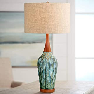 Rocco Mid Century Modern Table Lamp Ceramic Blue Teal Glaze Wood Handmade Linen Drum Shade for Living Room Family Bedroom - 360 Lighting