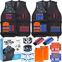 TEPSMIGO 2 Pack Tactical Jacket Vest Kit with 100 Pcs Refill Darts, 2 Reload Clips, 2 Face Tube Masks, 2 Hand Wrist Bands and 2 Protective Glasses, Suit for Kids Boys Girls 5+