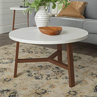 WE Furniture Mid Century Modern Round Coffee Accent Table Living Room, 30 Inch, White Marble, Brown