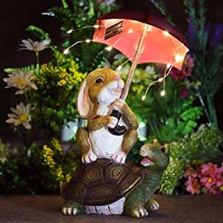 GIGALUMI Garden Statue Outdoor Decor, Rabbit Siting On Turtle Holding a Umbrella with String Lights, Solar Statue and Scul...