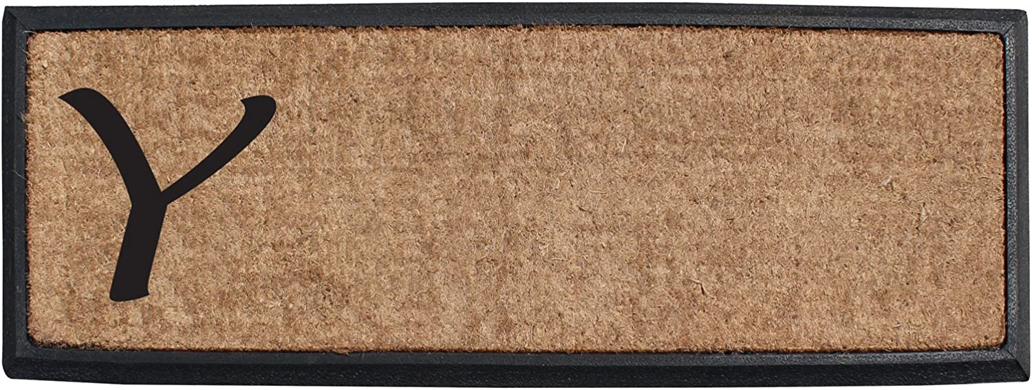 A1 HOME COLLECTIONS First Impression Rubber and Coir Molded Lucida Double Doormat, 16 x48 , Monogrammed Y(MULD01-1-Y)