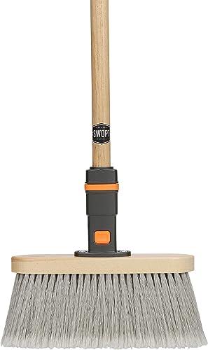 "SWOPT Premium Straight Broom for Smooth Surfaces – 48"" Comfort Grip Wooden Handle – EVA Foam Comfort Grip Gives Stabi..."