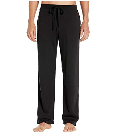 Polo Ralph Lauren Midweight Waffle Solid Pajama Pants (Polo Black/RL2000 Red Pony Print) Men