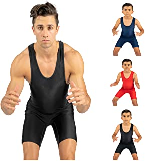 4Time Wrestling Singlet: Men and Youth, Powerlifting, MMA, Black, Navy Blue, Red