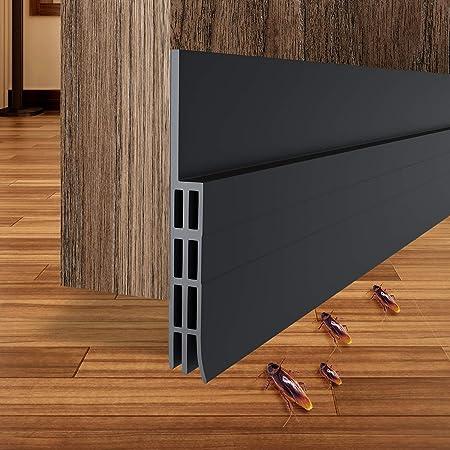 """Ohuhu Door Draft Stopper, Door Sweep, Under Door Draft Blocker, Door Under Seal, Door Strip for Soundproof, Wind Blocker, Block Dust 39"""" L x2"""" W Black"""