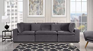 Dark Grey Classic Modular Sofa Couch, Convertible 3 Piece Sofa (Custom Couch Feature) Modern Velvet Couch Sofa from 2Pc Loveseat w/Single Sofa, Configurable Couches & Sofas Living/Theater Room (Grey)