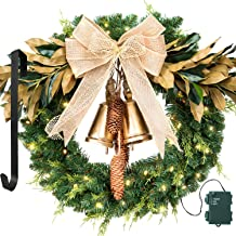 LIFEFAIR Christmas Wreath, with 75 Battery Operated LED Lights and Wreath Hanger, for Front Door Timer Included Gold Bell