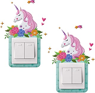 GOTONE 2PCS Unicorn Light Switch Stickers Cover Switches Kids 3D Sticker Surround for Home Room Removable, Self-Adhesive G...