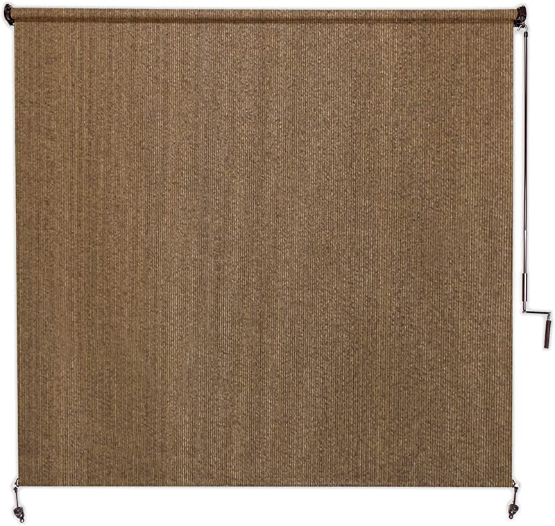 Coolaroo Exterior Roller Shade Cordless Roller Shade With 95 UV Protection No Valance 8 W X 8 L Walnut