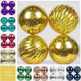 "KI Store Christmas Ball Ornaments Hanging Tree Ornament Decorations 4"" Large Shatterproof Vintage Mercury Balls(Gold)"