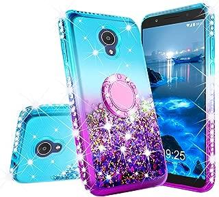 Alcatel Avalon V Case,Alcatel 1X Evolve Case, Alcatel TCL LX (A502DL) Case, Alcatel IdealXTRA Case, Ring Stand Glitter Liquid Quicksand Floating Sparkle Bling Diamond Girls Cute Case - Teal/Blue