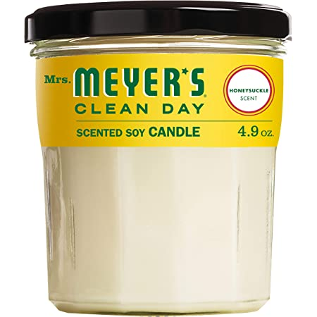 Mrs. Meyer's Clean Day Scented Soy Aromatherapy Candle, 25 Hour Burn Time, Made with Soy Wax and Essential Oils, Honeysuckle, 4.9 oz