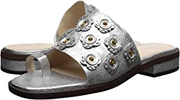 Silver Crackle Metallic Leather