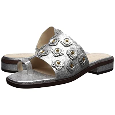 Cole Haan Carly Floral Sandal (Silver Crackle Metallic Leather) Women