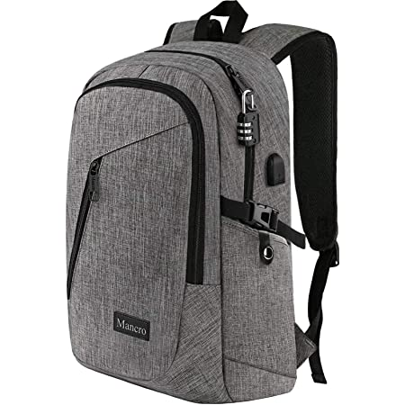 Mancro Laptop Backpack, Business Water Resistant Laptop bag Backpack Gift for Men Women with USB Charging Port, Anti Theft College School Bookbag, Travel Computer Bag for 15.6 Inch Laptops,Grey