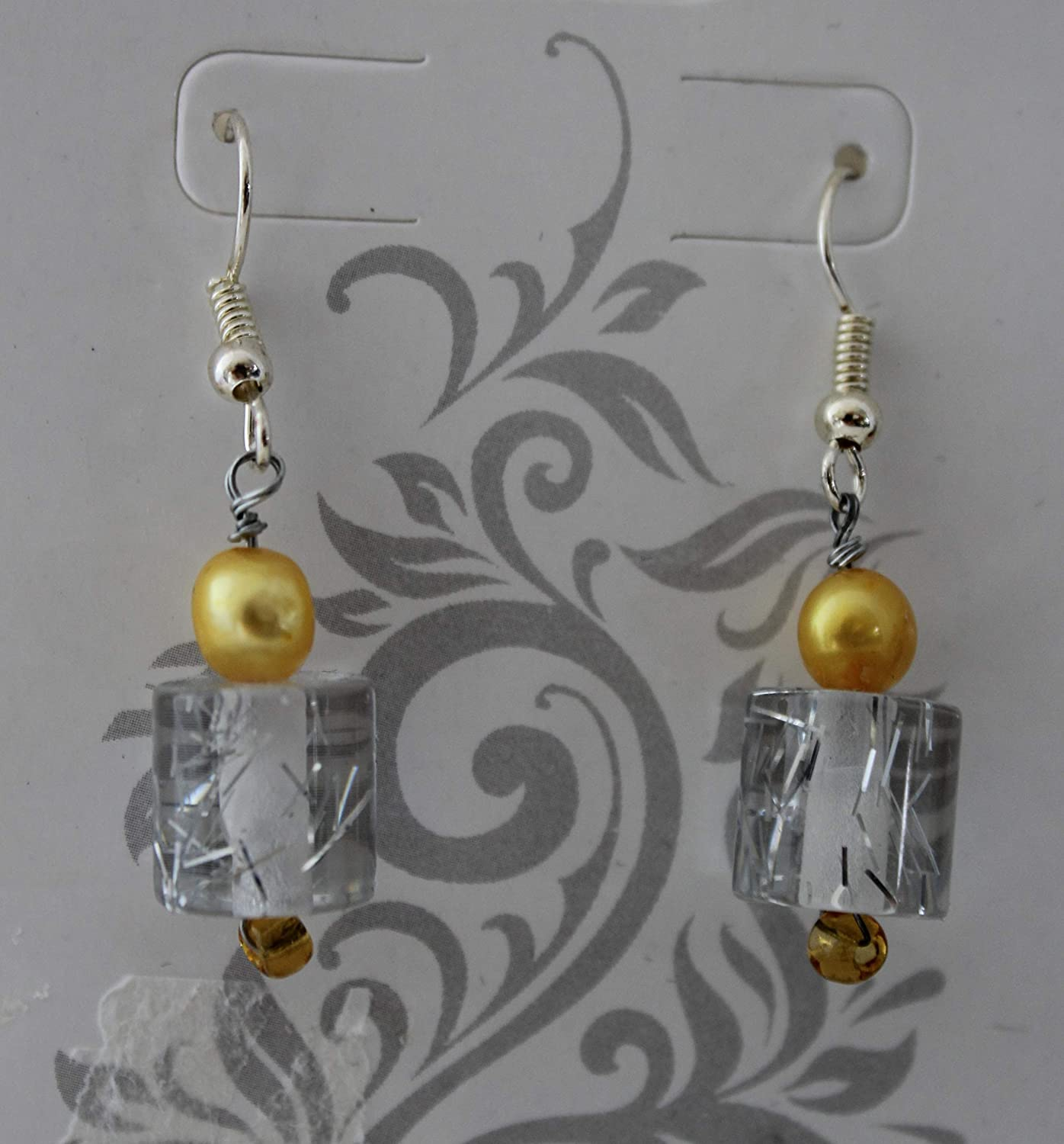 Yellow Natural Large discharge sale Pearl Dangle Earrings Fees free White Czech Sparkle Clear
