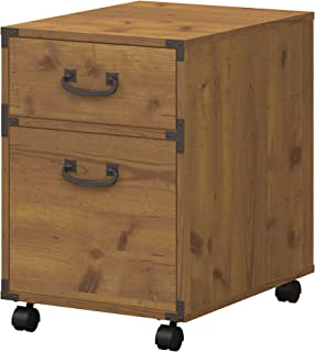 kathy ireland Home by Bush Furniture Ironworks 2 Drawer Mobile File Cabinet in Vintage Golden Pine