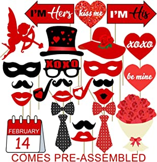 35PCS Valentines Day Photo Booth Props Kit - No DIY Assembled Required - Valentines Day Photo Props Party Supplies Favors