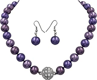 Single Strand Glass Beaded Rhinestone Fireball Simulated Pearl Necklace Earrings Set