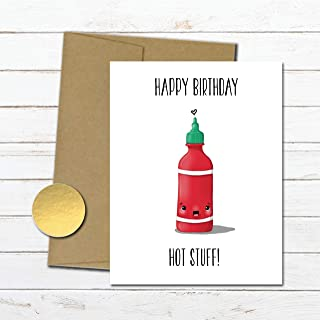 Funny birthday card for boyfriend, husband, girlfriend, sexy birthday card for him, funny bday gift for her, sriracha, naughty love card