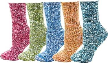 Women's Lady's 5 Pack Vintage Style Cotton Crew Socks