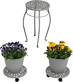 Sunnydaze 5-Piece Cast Iron Planter, Rolling Caddy and Plant Stand Set, Indoor or Outdoor, Dark Gray