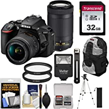 $724 » Nikon D5600 Wi-Fi Digital SLR Camera with 18-55mm VR & 70-300mm DX AF-P Lenses with 32GB Card + Backpack + Flash + Tripod + Kit (Renewed)