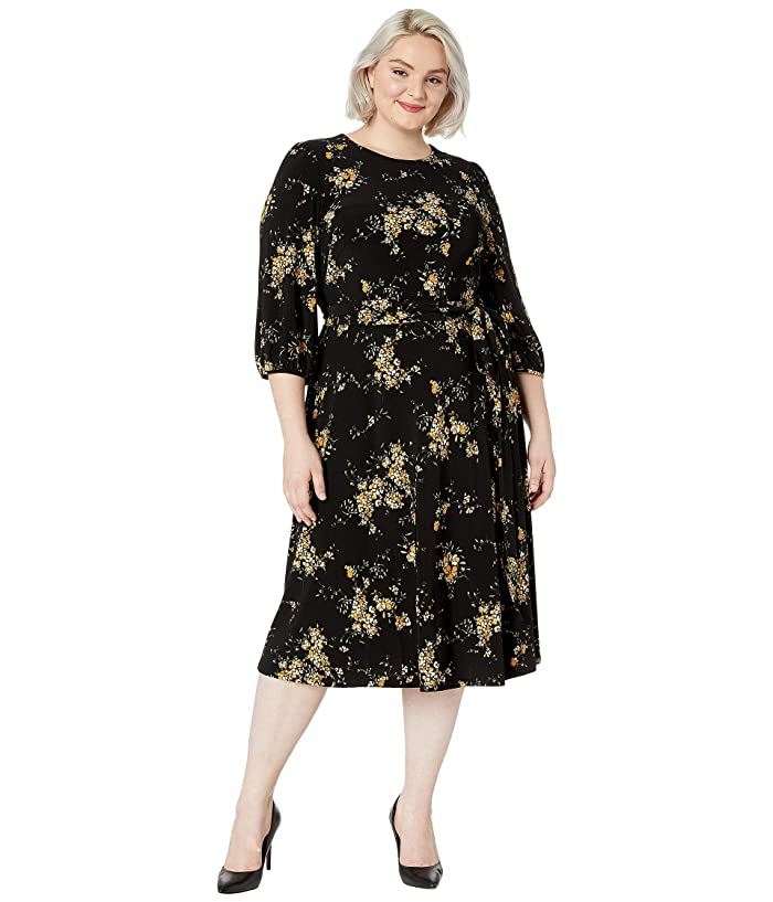 1940s Plus Size Dresses | Swing Dress, Tea Dress LAUREN Ralph Lauren Plus Size Floral Fit-and-Flare Dress BlackGold OchreMulti Womens Clothing $108.00 AT vintagedancer.com