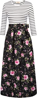 Women's Striped Floral Print Maxi Dress with Pockets