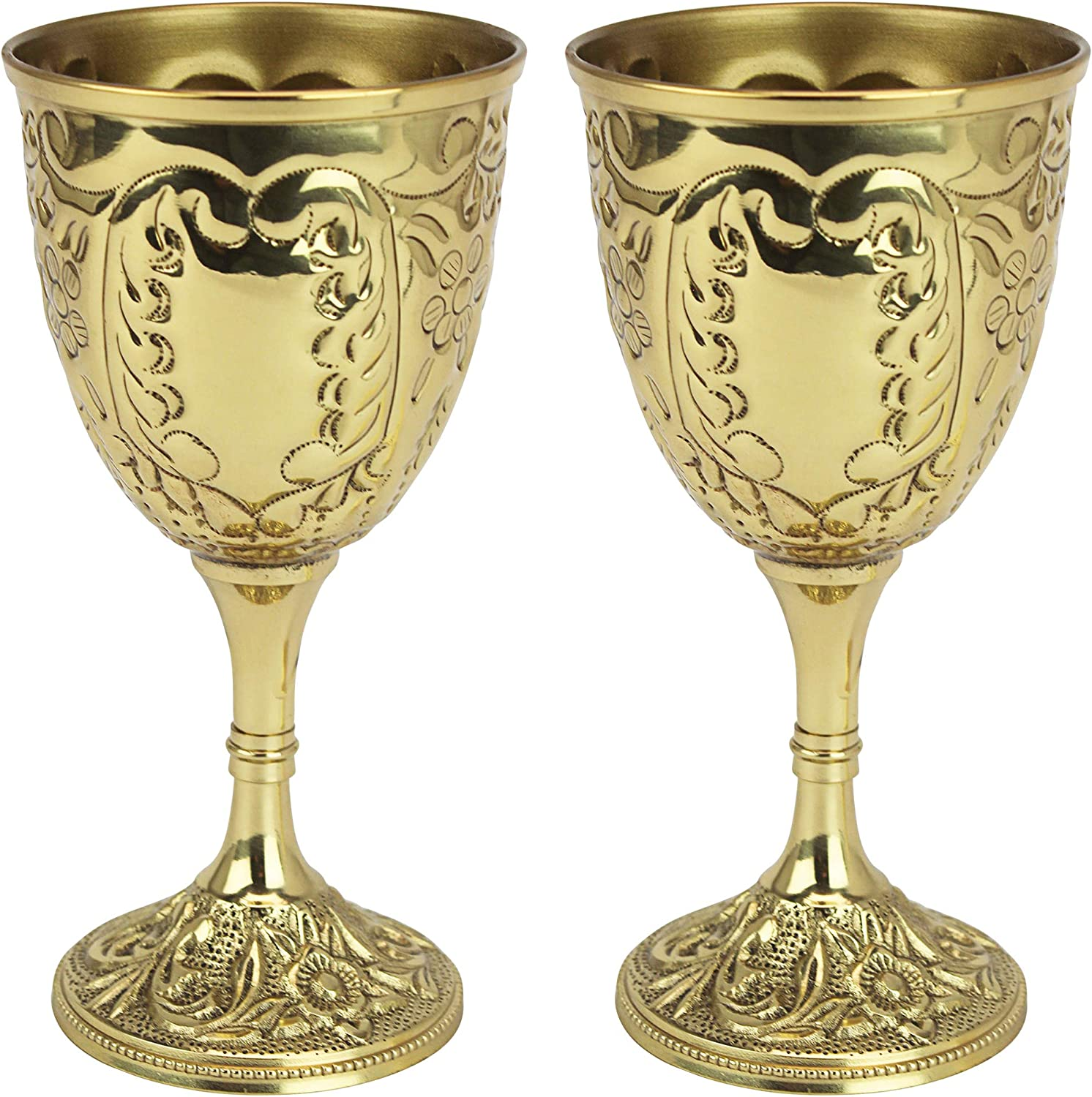 Design Toscano The King's Royal Chalice Cup, 6 Inch, Set of Two, Embossed Brass,