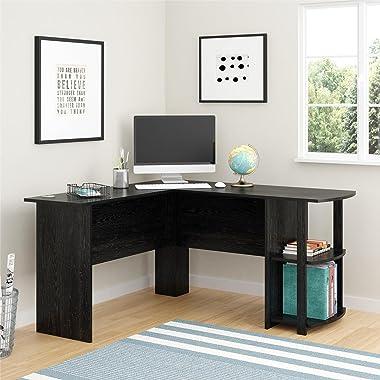Ameriwood Home Dakota L-Shaped Desk with Bookshelves (Black Ebony Ash)