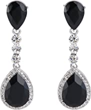 BriLove Women's Wedding Bridal Crystal Teardrop Infinity Figure 8 Chandelier Dangle Earrings