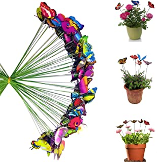 Antallcky 100pcs Butterfly Stakes Outdoor Yard Planter Flower Pot Bed Garden Decor Butterflies Christmas Decorations,Butterflies on Metal Wire Plant Stake,Fairy Garden Accessories Gardening Gifts