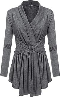 Sponsored Ad - ACEVOG Women`s Drape Cardigan Long Sleeved Open Front Cardigans Basic Irregular Hem Solid Dusters Lightweig...