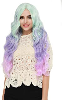 SEIKEA Long Hair Wig with Bangs Cosplay Mermaid Costume Color Wavy Hairpiece - Puple Green Pink