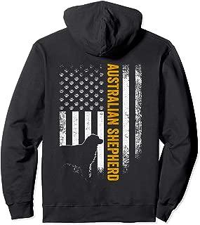 Vintage USA Australian Shepherd Dog Silhouette American Flag Pullover Hoodie