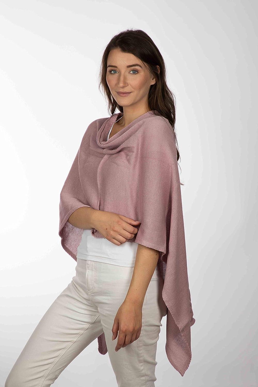 Cashmere Dreams Poncho-Schal aus Baumwolle - Hochwertiges Cape für Damen - Umhängetuch und Tunika - Strick-Pullover - Sweatshirt - Stola für Sommer und Winter Zwillingsherz Altrosa