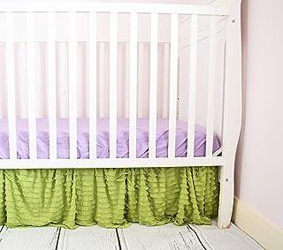Green Crib Skirt Dust Ruffle Bedding, Boho Baby Girl Shower Gift, Nursery Decor