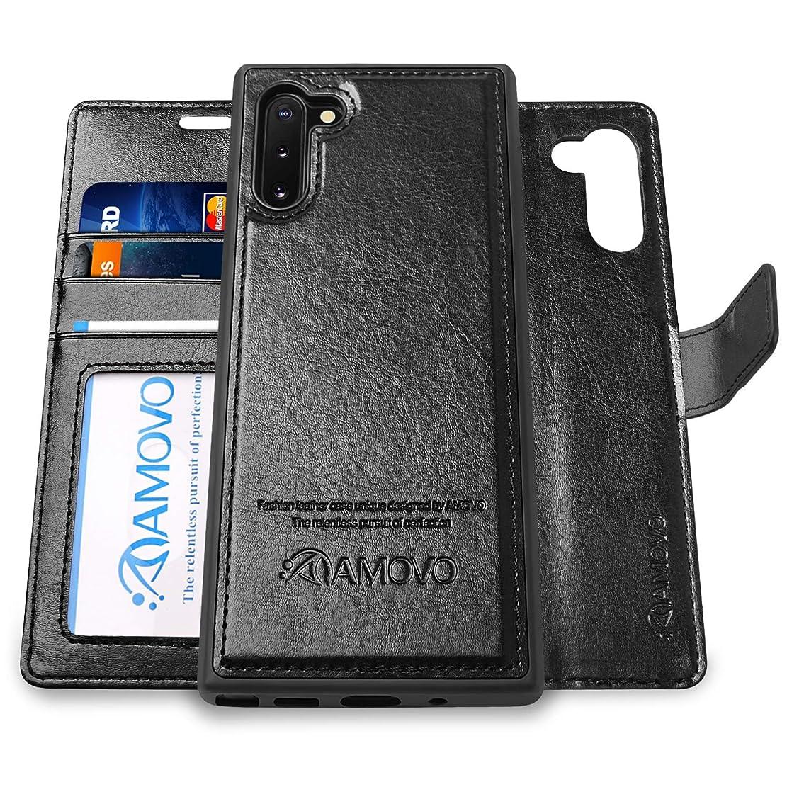 リマ矢じりオートAMOVO Galaxy Note 10+ ケース 手帳型 SC-01M SCV45 分離式 取り外し自由 ワイヤレス充電に対応 Galaxy Note 10 Plus ケース カード収納 横開き スタンド機能 ギャラクシー ノート10+ 手帳ケース (Galaxy Note 10+, 黒い)