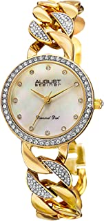 August Steiner Minimalist Dial Fashion Dress Watch - Mother of Pearl Diamond Dial With Crystal Bezel and Links on Two Tone Silver and Yellow Gold Stainless Steel Bracelet - AS8190