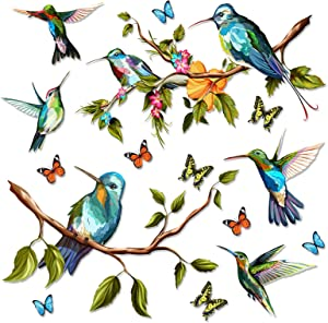 Hummingbird Wall Decal, DIY Bird Flower Wall Stickers Decor, Butterfly, Plant Vinyl Glass Wall Decals for Home, Removable Sticker for Bedroom, Window, Outdoor