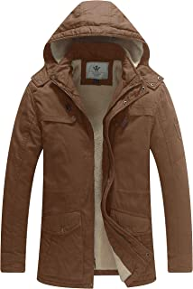 Men's Cotton Heavy Sherpa Lined Warm Coat Removable Hooded Parka Jacket